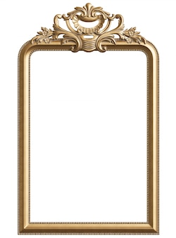 Marco dorado clásico con decoración de adorno para interior clásico aislado