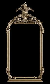 Marco dorado clásico con decoración de adorno en pared negra