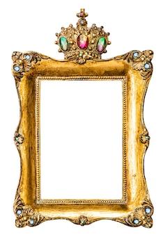 Marco dorado decorado con piedras preciosas aislado sobre fondo blanco.