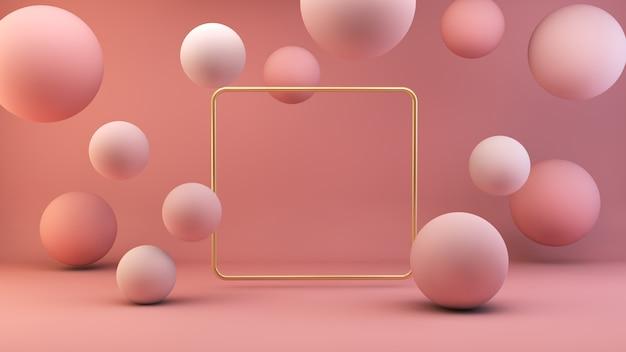 Marco dorado con esferas flotantes