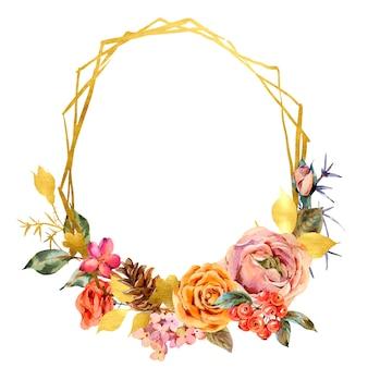Marco dorado floral acuarela con rosas vintage y flores silvestres.