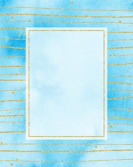 Marco dorado y fondo azul acuarela