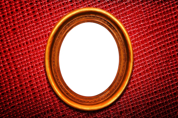 Marco dorado sobre fondo rojo textura