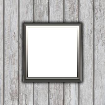 Marco en blanco 3d sobre un fondo de textura de madera