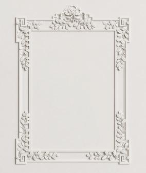 Marco de espejo clásico en la pared blanca. representación 3d