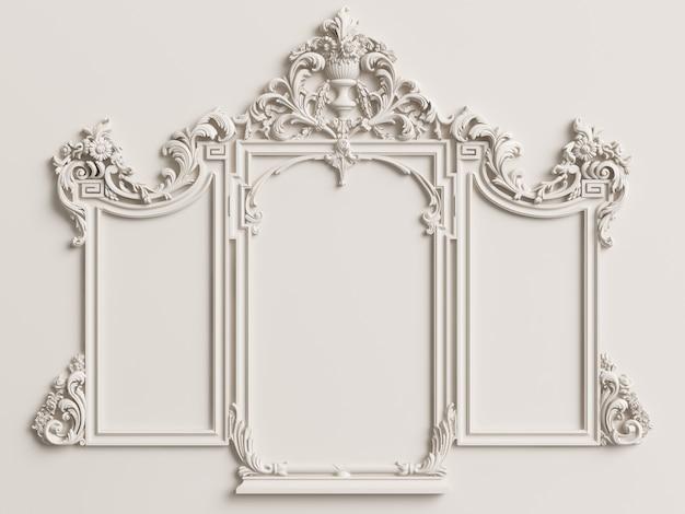 Marco de espejo tríptico clásico en la pared blanca. representación 3d