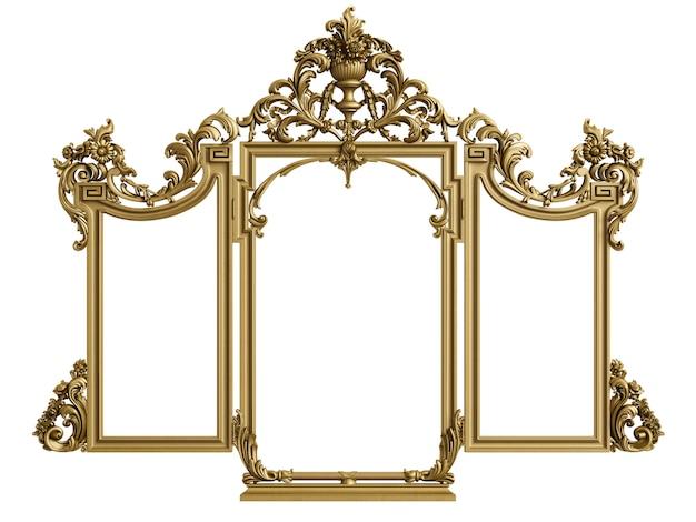 Marco de espejo tríptico clásico. representación 3d