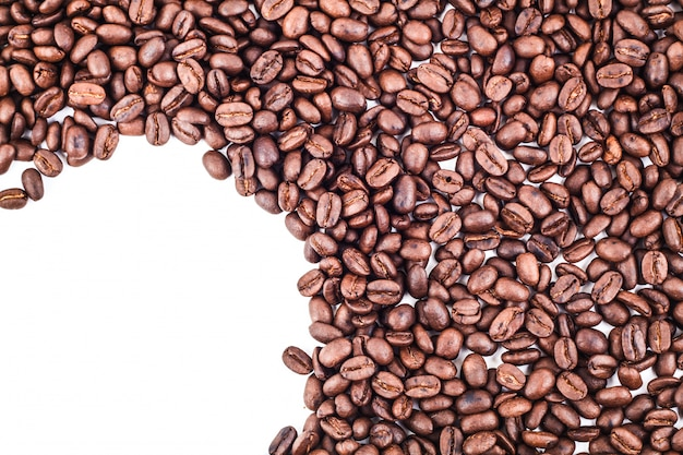 Marco de esquina de cuarto de círculo de granos de café tostados