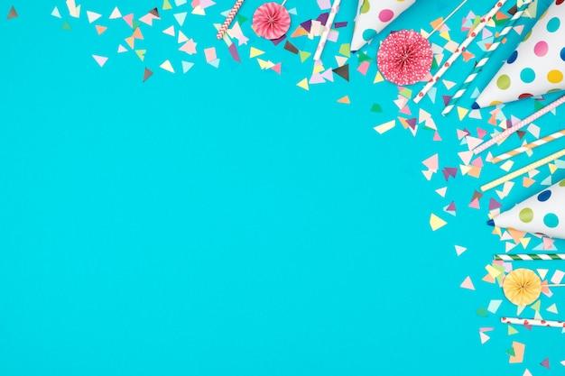 Marco de fiesta de decoración en colores de fondo