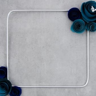 Marco floral azul sobre fondo de cemento