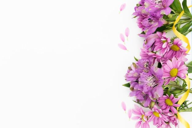 Marco floral plano laico con fondo blanco