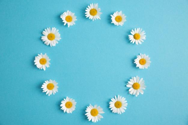 Marco floral redondo sobre fondo de papel azul