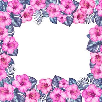Marco de flores exóticas