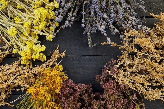 Marco de flores de hierbas secas