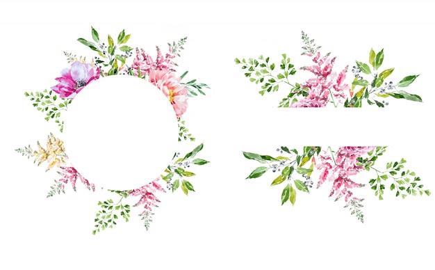 Marco de flores de primavera acuarela. corona de flores.