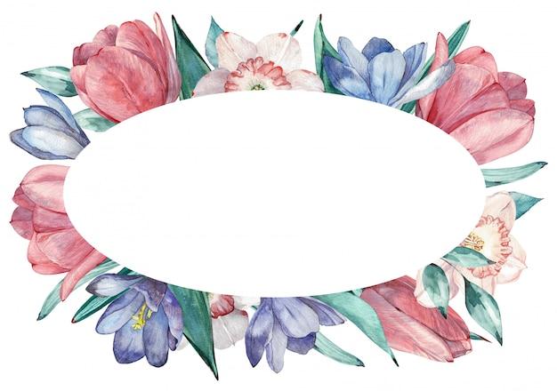 Marco de flores de primavera en estilo acuarela con fondo blanco