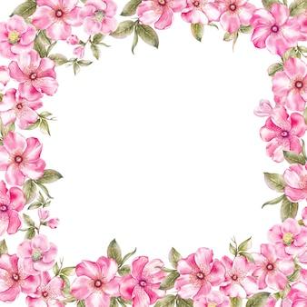 Marco de flores de sakura rosa.