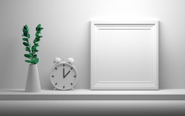 Marco de foto en blanco, imagen en blanco, reloj de campana y flor en un florero en blanco vacío