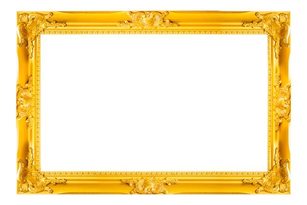 Marco de la foto y de la foto del vintage del oro aislado en el fondo blanco.