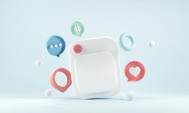 Marco de fotos con amor como botón sobre fondo azul.