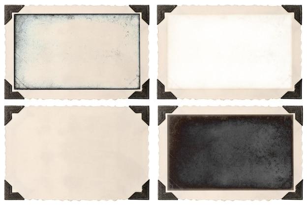 Marco de fotos antiguo con esquina y campo vacío para su imagen aislado sobre fondo blanco.