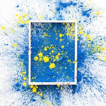 Marco de fotos en azul y amarillo brillante colores secos