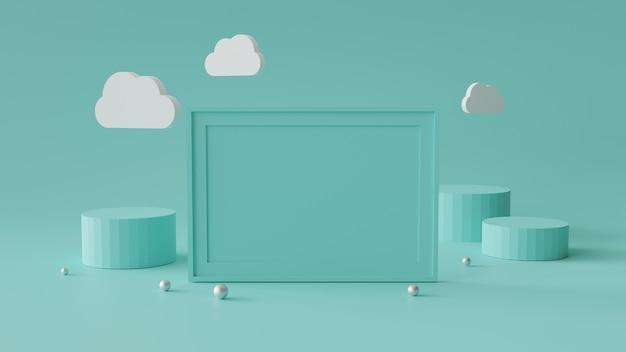 Marco de fotos en blanco con cilindro podio. fondo geométrico abstracto para la visualización o maqueta. representación 3d.