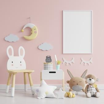 Marco de fotos en blanco en la habitación de los niños, pared rosa, render 3d