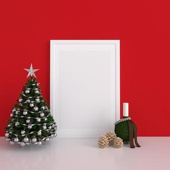 Marco de fotos en blanco para maqueta, concepto de navidad