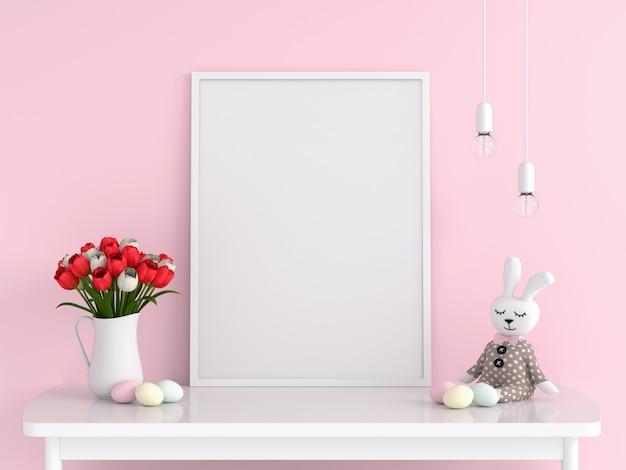 Marco de fotos en blanco para maqueta en la mesa, concepto de pascua