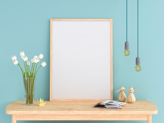 Marco de fotos en blanco para maqueta en la mesa