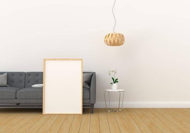 Marco de fotos en blanco para maqueta en sala de estar moderna