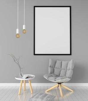 Marco de fotos en blanco para maqueta en la sala de estar