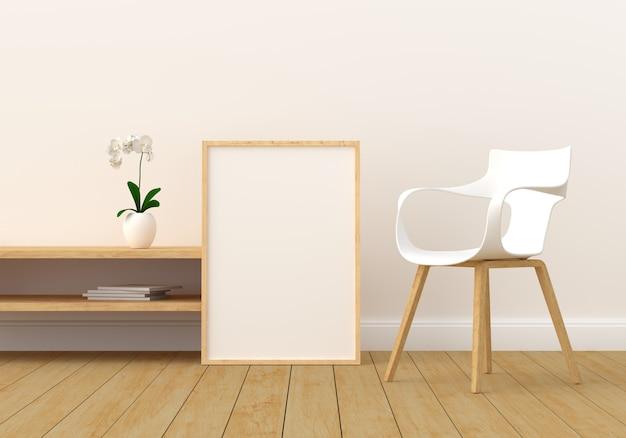 Marco de fotos en blanco en la moderna sala de estar