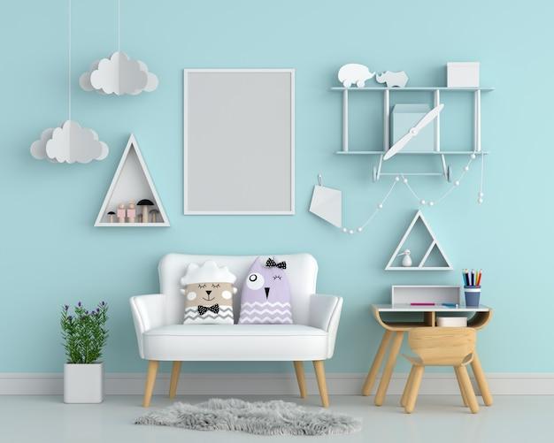 Marco de fotos en blanco en la pared para maqueta