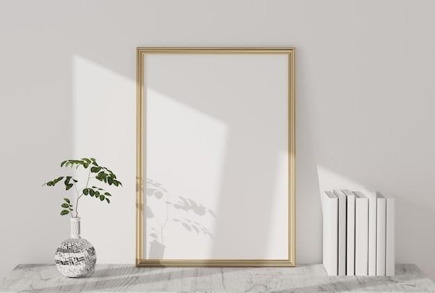 Marco de fotos en blanco en la sala de estar moderna