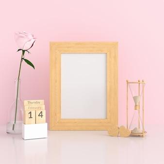 Marco de fotos en blanco en sala rosa para maqueta