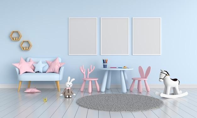 Marco de fotos en blanco tres para maqueta en la habitación del niño