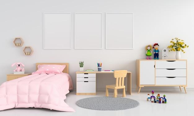 Marco de fotos en blanco tres para maqueta en interior de dormitorio childern