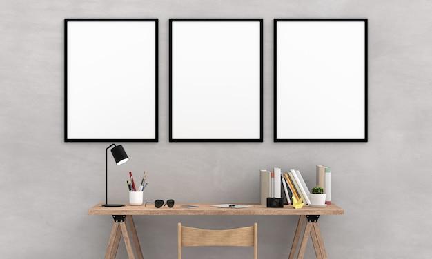 Marco de fotos en blanco tres para maqueta en la pared