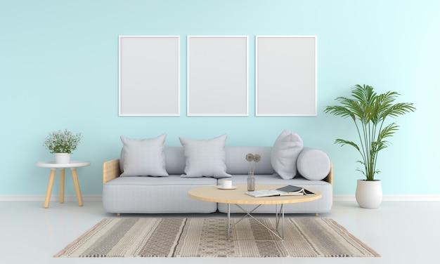 Marco de fotos en blanco tres para maqueta en la sala de estar