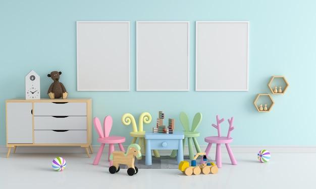 Marco de fotos en blanco tres para maqueta en sala de niños