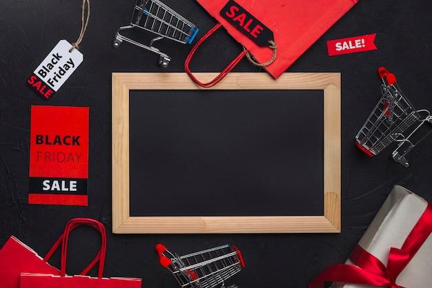Marco de fotos, carros de compra, paquetes y etiquetas.