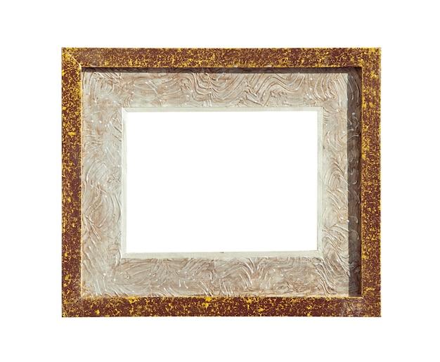 Marco de fotos de lienzo de diseño marrón aislado en blanco