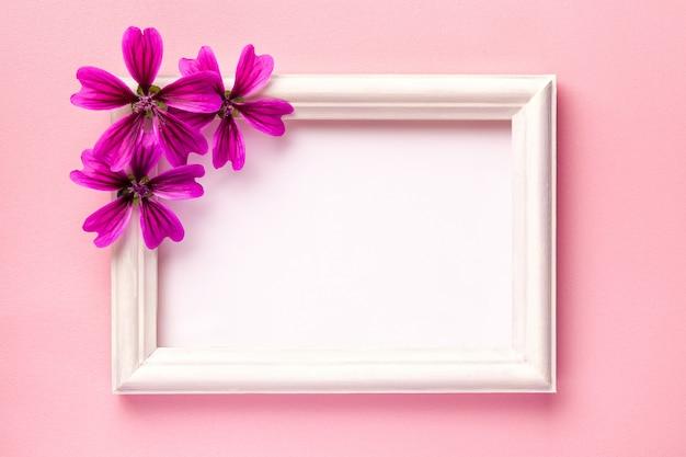 Marco de fotos de madera blanca con flores de color púrpura sobre fondo de papel rosa.