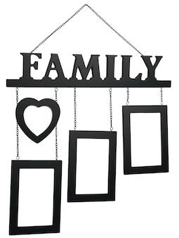 Marco de fotos de madera negro con texto familia