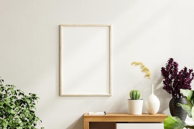 Marco de fotos de maqueta en el gabinete de madera con hermosas plantas, renderizado 3d