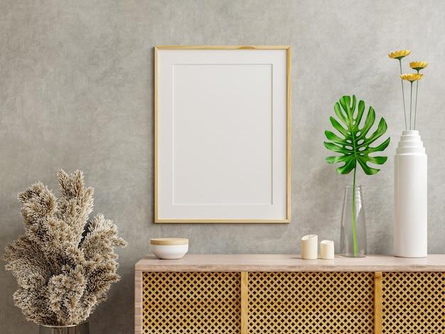 Marco de fotos de maqueta en el gabinete de madera con muro de hormigón, renderizado 3d