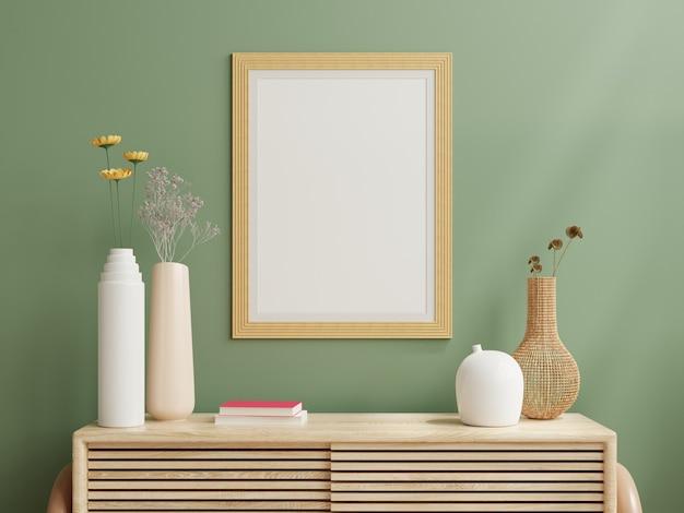 Marco de fotos de maqueta verde montado en la pared del gabinete de madera. representación 3d