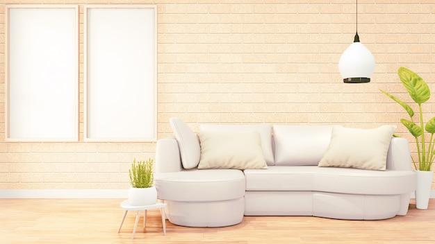 Marco de fotos para obras de arte, sofá blanco en el diseño interior de la habitación loft, diseño de pared de ladrillo naranja. renderizado 3d
